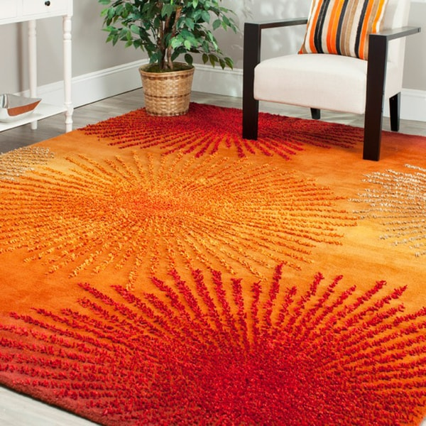 Safavieh Handmade Soho Burst Rust New Zealand Wool Rug (3'6 x 5'6')