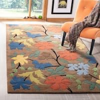 "Safavieh Handmade Soho Brown Floral New Zealand Wool Rug - 3'6"" x 5'6"""