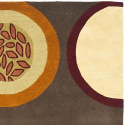 Safavieh Handmade Soho Brown/Multi Circle-Pattern New-Zealand-Wool Rug (5' x 8')