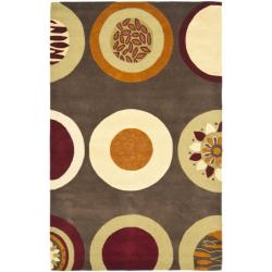 Safavieh Handmade Soho Brown/Multi Circle-Pattern New-Zealand-Wool Rug (5' x 8')