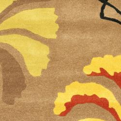 Safavieh Handmade Soho Brown Floral-Pattern New Zealand Wool Rug (3'6 x 5'6') - Thumbnail 2
