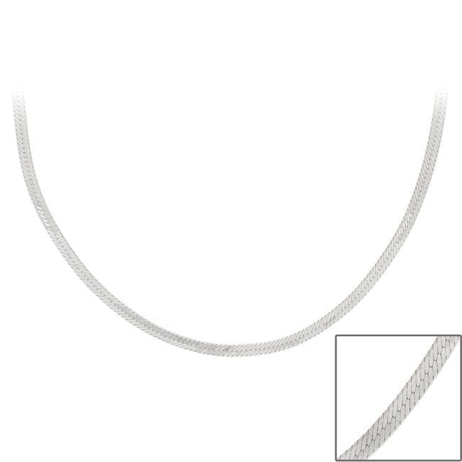 Mondevio Sterling Silver 24-inch Italian Herringbone Chain Necklace