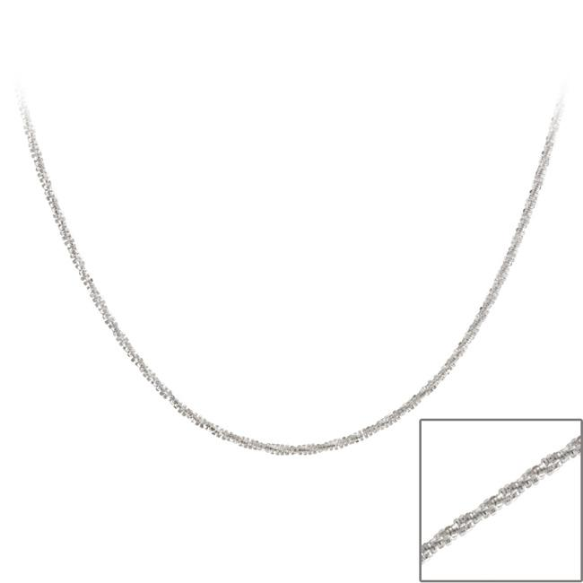 Mondevio Sterling Silver Diamond-cut Crisscross 24-inch Italian Chain Necklace