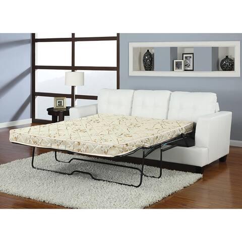 Diamond White Bonded Leather Sleeper Sofa Free