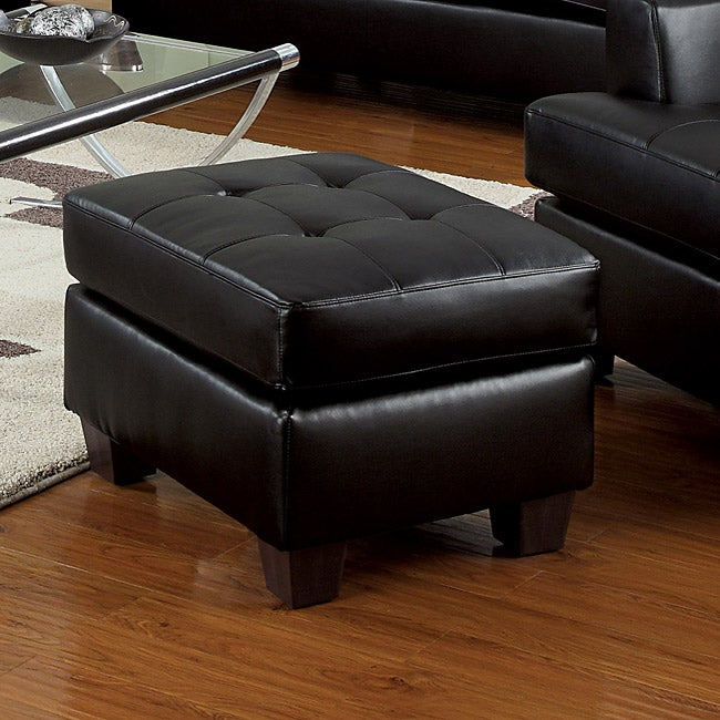Shop Black Bonded Leather Ottoman Free Shipping Today