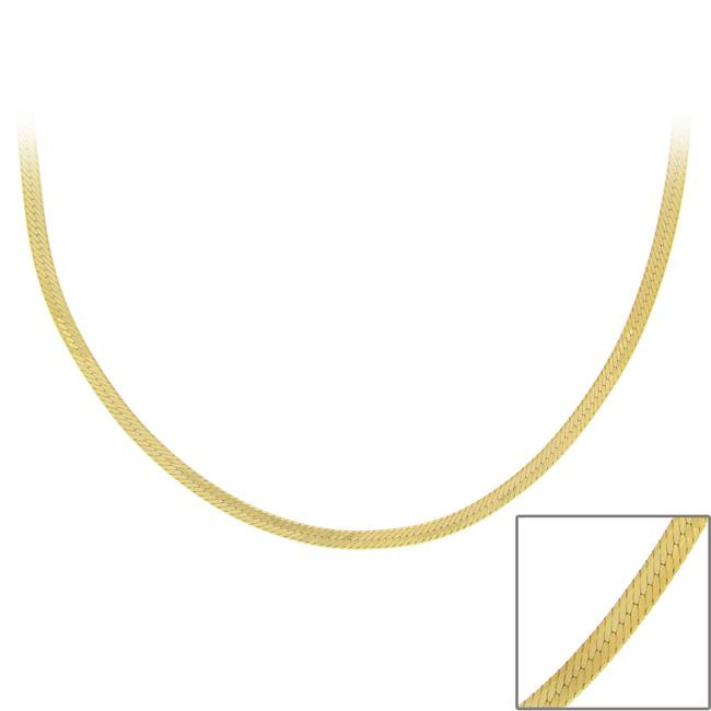 Mondevio 18k Gold over Sterling Silver 24-inch Italian Herringbone Chain - Thumbnail 0