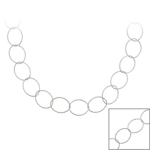Mondevio Sterling Silver 36-inch Italian Intertwined Loop Chain
