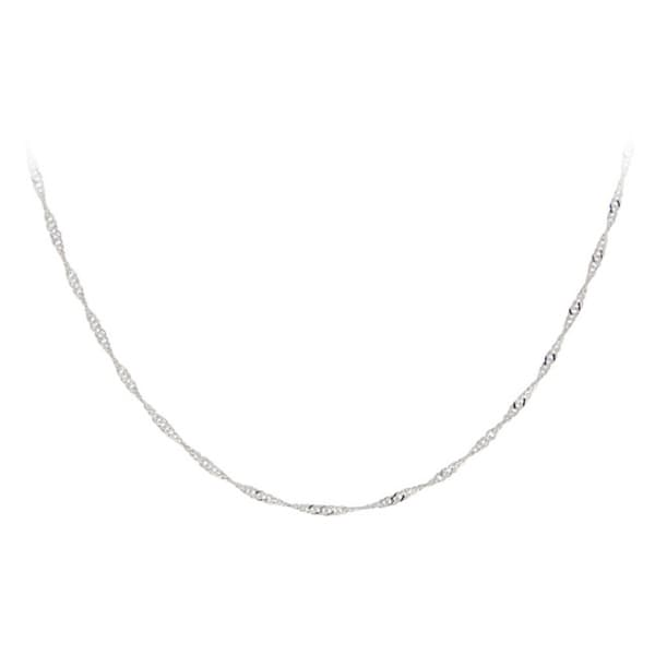 Mondevio Sterling Silver 24-inch Italian Singapore Chain Necklace