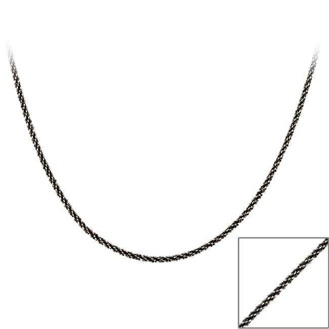Mondevio Black Rhodium over Silver 36-inch Diamond-cut Necklace