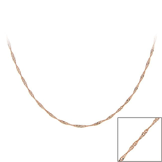 Mondevio Rose Gold over Sterling Silver 24-inch Italian Singapore Chain