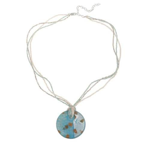 Glitzy Rocks Sterling Silver Sea Blue Glass Disc Necklace