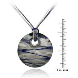 Glitzy Rocks Silver Blue, White and Grey Glass Disc Necklace - Thumbnail 2