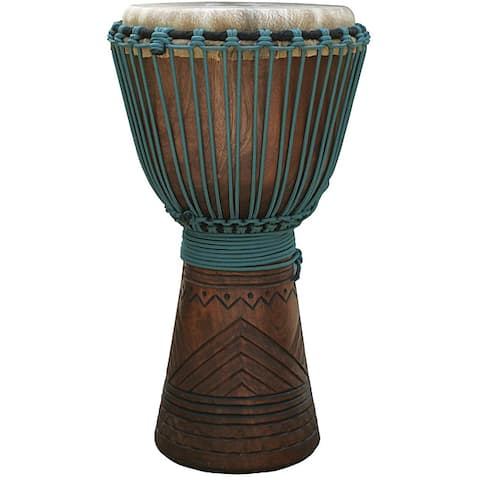 Handmade Mahogany and Blue Rope Professional Level Djembe Drum (Indonesia)