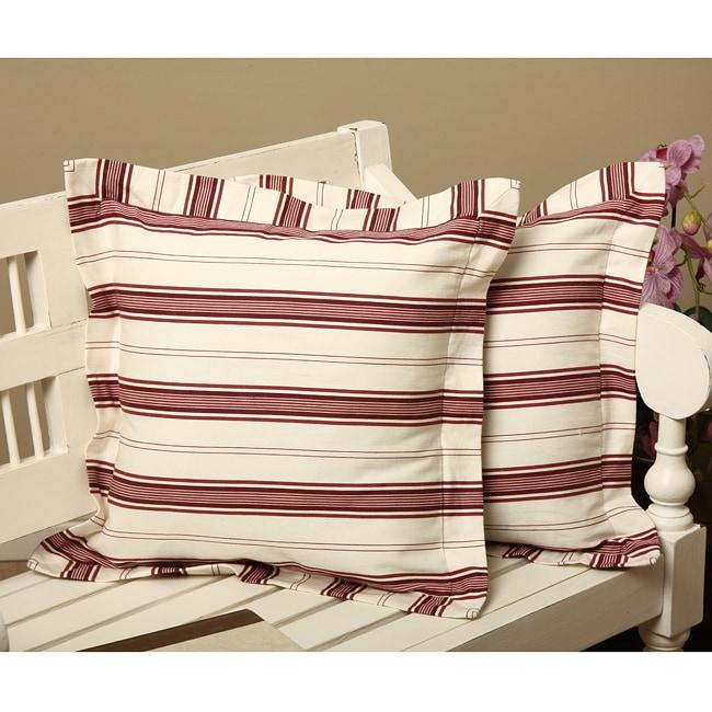 Kitchen Stripe Flanged Throw Pillows (Set of 2)