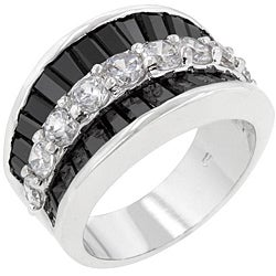 Kate Bissett Silvertone Created Onyx and Cubic Zirconia Fashion Ring - Thumbnail 1