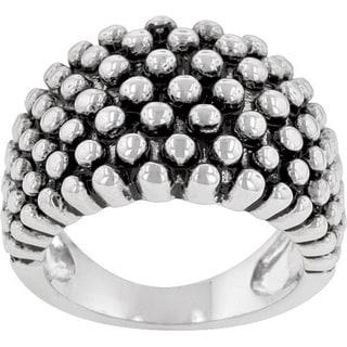 Kate Bissett Silvertone Beaded Cocktail Ring