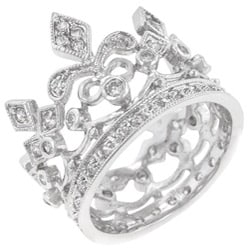 Kate Bissett Silvertone Clear Cubic Zirconia Crown-style Cocktail Ring - Thumbnail 1