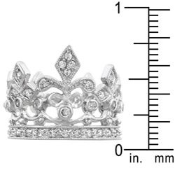 Kate Bissett Silvertone Clear Cubic Zirconia Crown-style Cocktail Ring - Thumbnail 2