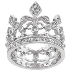 Kate Bissett Silvertone Clear Cubic Zirconia Crown-style Cocktail Ring https://ak1.ostkcdn.com/images/products/5779608/Kate-Bissett-Silvertone-Clear-Cubic-Zirconia-Crown-style-Cocktail-Ring-P13504306.jpg?impolicy=medium