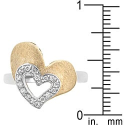 Kate Bissett Two-tone Cubic Zirconia Heart Cocktail Ring