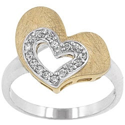 Kate Bissett Two-tone Cubic Zirconia Heart Cocktail Ring - Thumbnail 0
