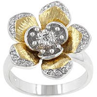 Kate Bissett Two-tone Cubic Zirconia Flower Cocktail Ring