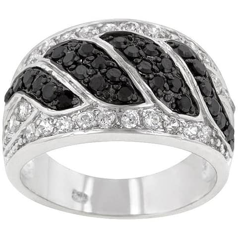 Kate Bissett Silvertone Created Onyx and Clear Cubic Zirconia Ring