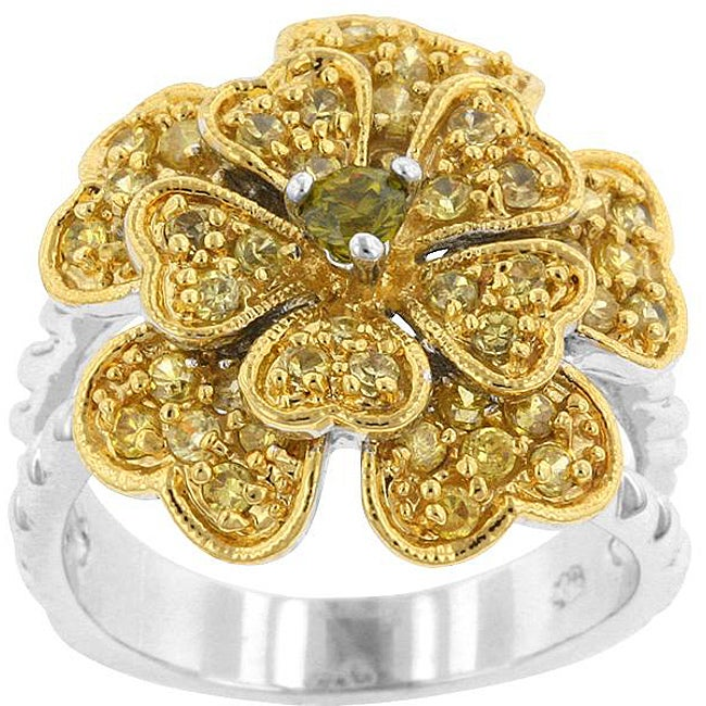 Kate Bissett Two-tone Green and Clear Cubic Zirconia Flower Ring