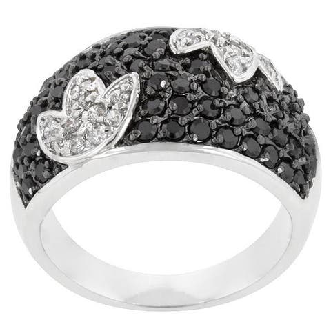 Kate Bissett Silvertone Created Onyx and Clear Cubic Zirconia Cocktail Ring