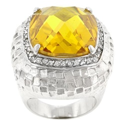 Kate Bissett Silvertone Yellow and Clear Cubic Zirconia Cocktail Ring