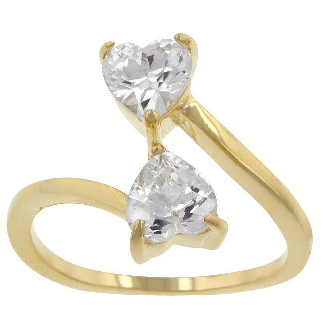 Kate Bissett Yellow Sterling Silver Heart-cut Cubic Zirconia Bypass Ring