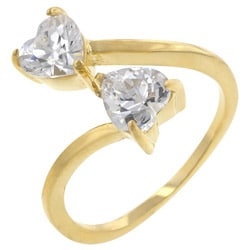 Kate Bissett Yellow Sterling Silver Heart-cut Cubic Zirconia Bypass Ring - Thumbnail 1