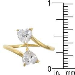 Kate Bissett Yellow Sterling Silver Heart-cut Cubic Zirconia Bypass Ring - Thumbnail 2