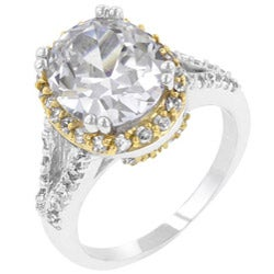 Kate Bissett Two-tone Clear Cubic Zirconia Fashion Ring - Thumbnail 1