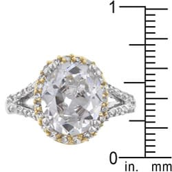Kate Bissett Two-tone Clear Cubic Zirconia Fashion Ring - Thumbnail 2