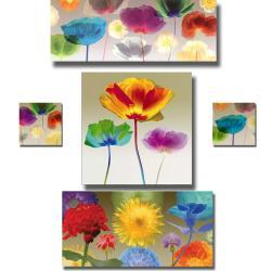 Robert Mertens 'Poppy and Fireworks' 5-piece Canvas Art Set