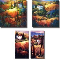 Nancy O'Toole 'Hillsides of Tuscany' 4-piece Canvas Art Set