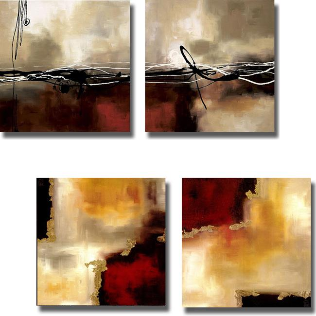 Laurie Maitland 'Symphonies of Red II' 4-piece Canvas Art Set - Red/Khaki/Crimson