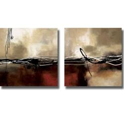 Laurie Maitland 'Symphonies of Red II' 4-piece Canvas Art Set - Thumbnail 1