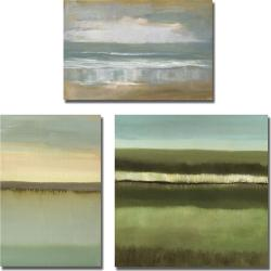Caroline Gold 'Shorelines' 3-piece Canvas Art Set