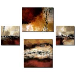Laurie Maitland 'Red Melody' 4-piece Canvas Art Set