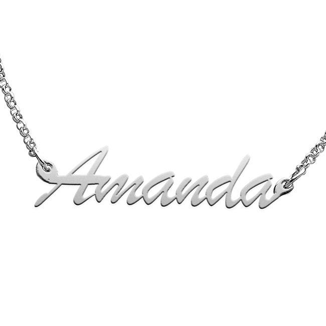 Sterling Silver 'Amanda' Script Name Necklace