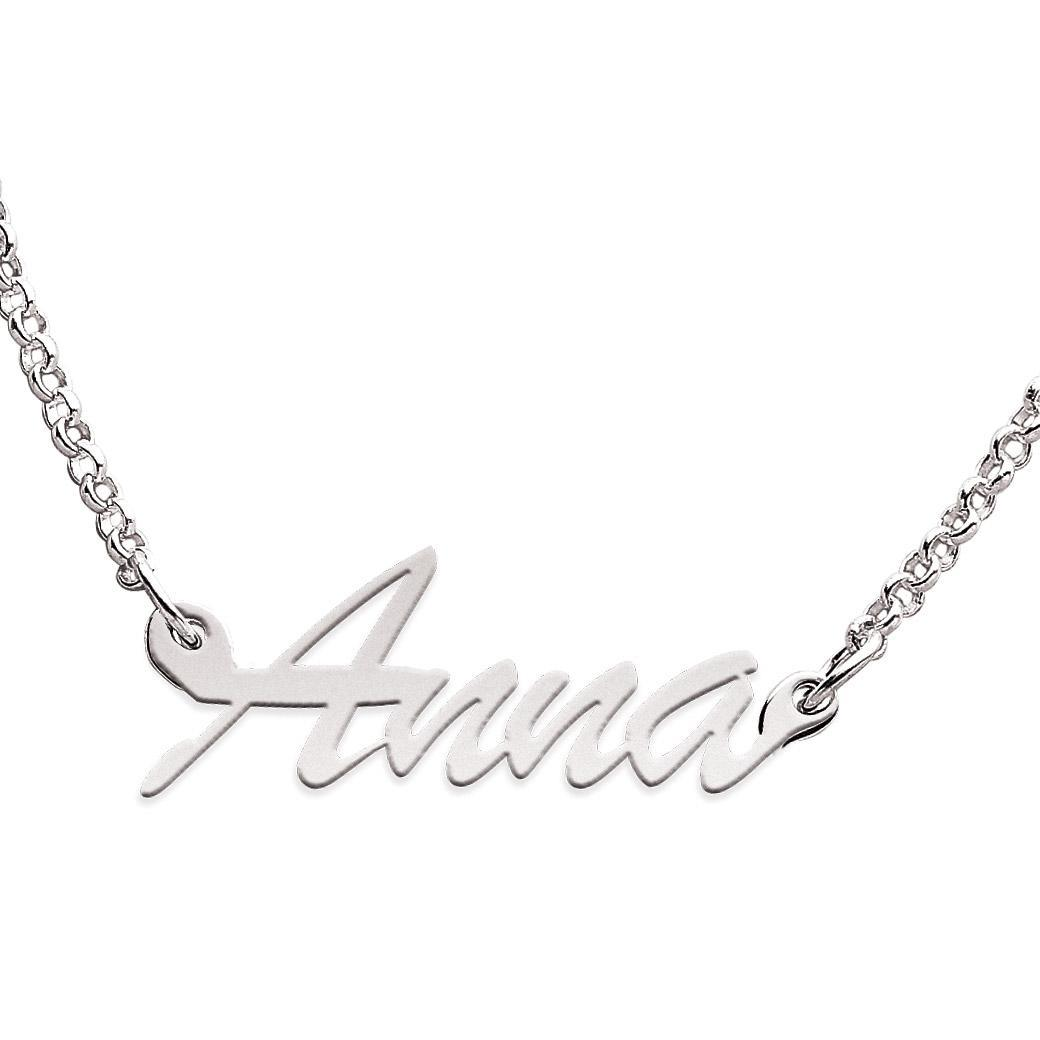 Sterling Silver Anna Script Name Necklace