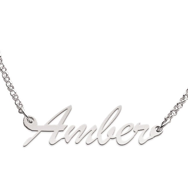 Sterling Silver 'Amber' Script Name Necklace