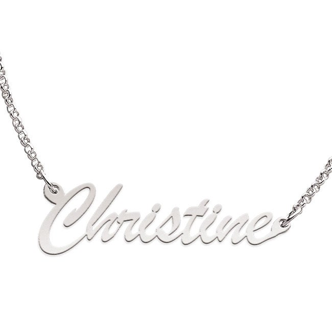 Sterling Silver 'Christine' Script Name Necklace