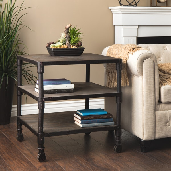 Renate Dark Grey Industrial Birch/Metal Triple-Shelved End Table