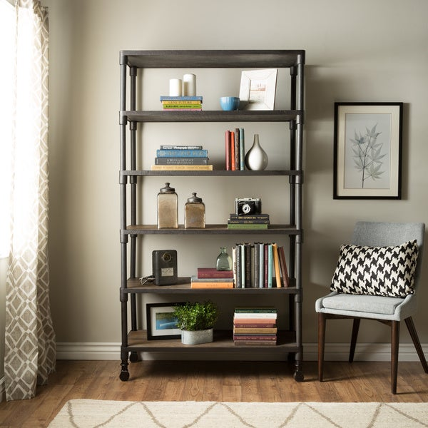 renate graphite grey industrial wood and metal shelvingbookcase - Overstock Bookshelves