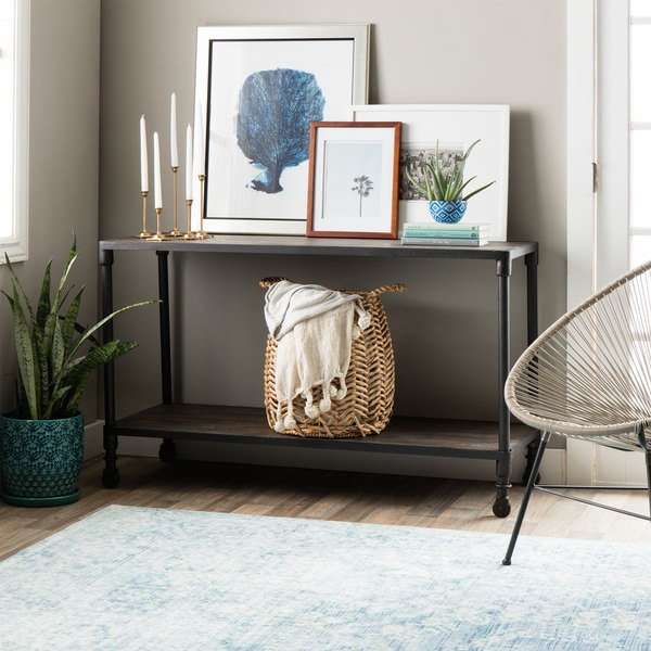 Renate Rolling Grey Wood/Metal Industrial Double-Shelved Sofa Table