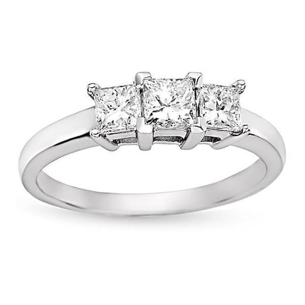 Miadora 14k White Gold 1ct TDW Princess Diamond 3-stone Ring (H-I, I1)