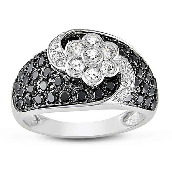 Miadora 14k White Gold 1 1/5ct TDW Black and White Diamond Ring